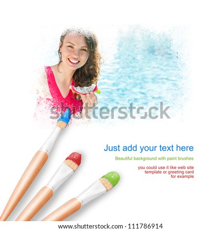 White background with three paintbrushes painting portrait of beautiful young woman tanning near swimming pool - stock photo