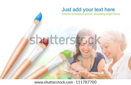 White background with three paintbrushes painting portrait of happy mother and daughter having fun