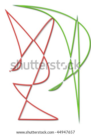 WHITE BACKGROUND WITH TWO FIGURES ABSTRACT