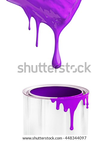 White background with violet paint flowing, paint brush.