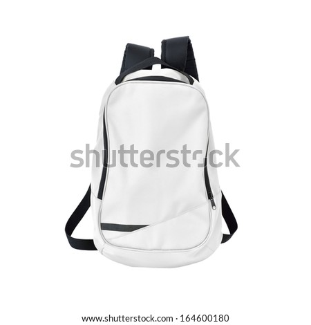 White backpack isolated on white background w/ path - stock photo