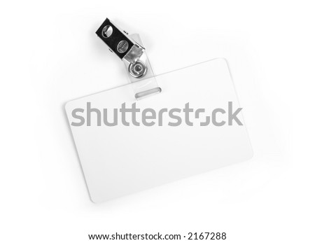 White badge ID isolated against white background - stock photo