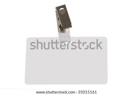 White badge ID isolated against white background
