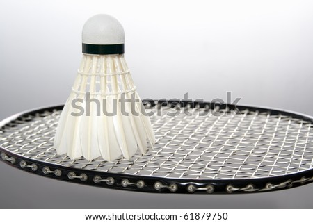 White badminton shuttlecock on the racket - stock photo
