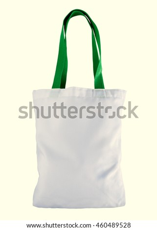 White bag with green holder isolated on white background
