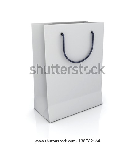white bag with handles in the (3-D simulation, 3-D visualization)