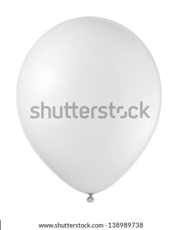 white balloon soaring on a white background - stock photo