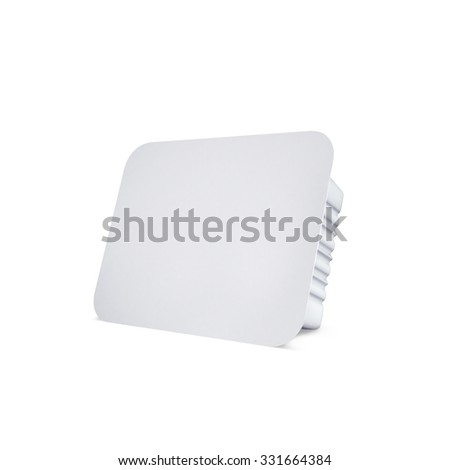 White bank for food oil, mayonnaise, margarine, cheese, ice cream, olives,, pickles, sour cream. Food and drink plastic blank. Template Ready For Your Design. Isolated on white - stock photo