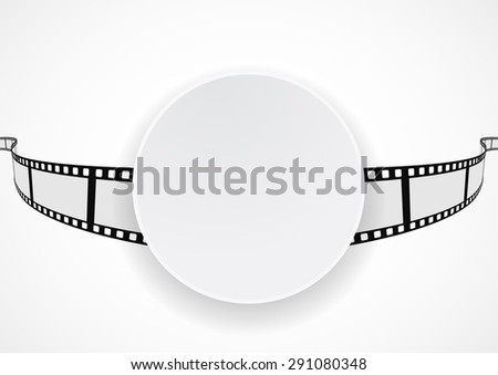white banner on film reel strip abstract background - stock photo