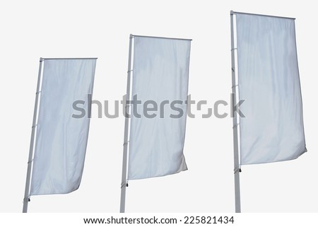 White banner. Tree empty vertical banners isolated. Blank space for write at your own. White flag isolated - stock photo