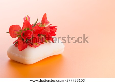 White bar of soap with a bright red Indian Paintbrush flower, on gradient orange background