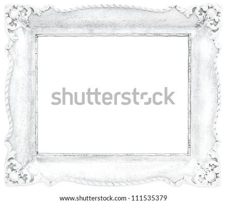 White Baroque Frame Isolated On White Stock Photo (Royalty Free ...