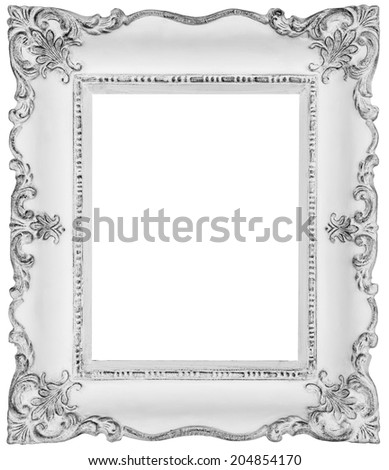 White baroque frame -White frame isolated on white, inner and outer clipping paths included - stock photo
