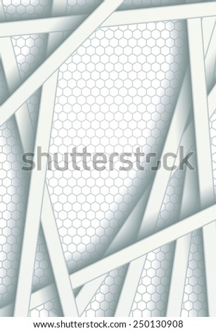 White bars over bright honeycomb structure. Abstract technology background - stock photo