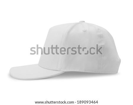 White baseball cap isolated on white background - stock photo