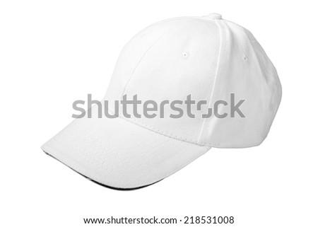 white baseball cap. Isolated on white background - stock photo