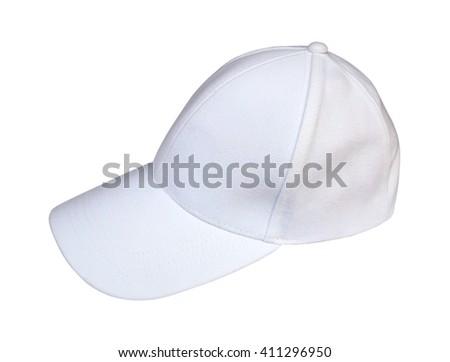 White Baseball Hat Isolated on White Background. - stock photo