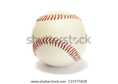 White baseball with red stitching isolated on white - stock photo