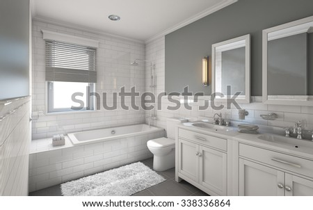 White Bathroom in Country House 3d Rendering - stock photo