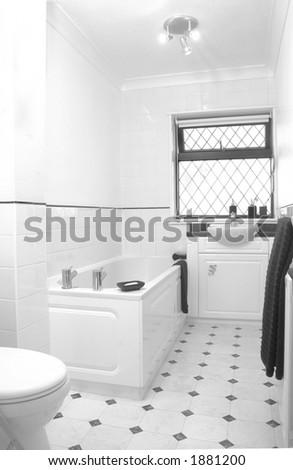 White bathroom in UK home - stock photo