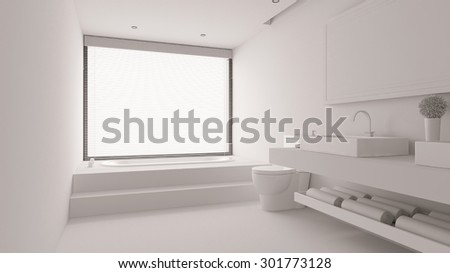 White bathroom with bathtub and WC and sink (3D Rendering) - stock photo