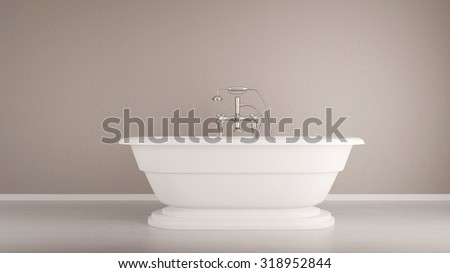 White bathtub standing in a bathroom (3D Rendering) - stock photo