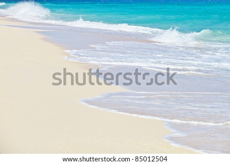 White beach and tropical sea. - stock photo