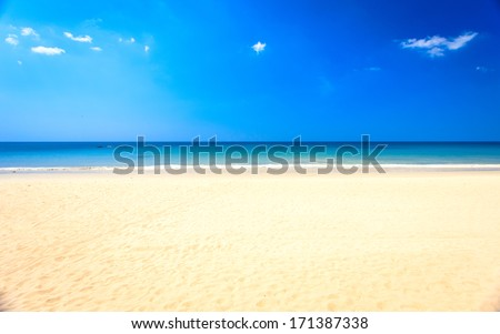 white beach,  clear sea and blue sky - stock photo