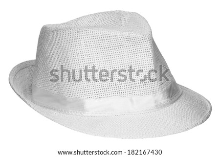 White beach hat isolated on white background - stock photo