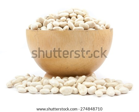 white bean on cup isolated on a white background - stock photo