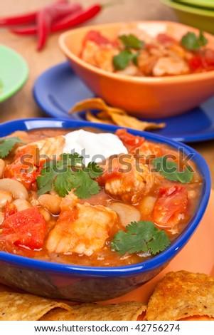 White bean turkey chili - stock photo