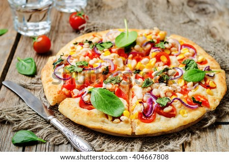 white beans, spinach, corn and tomato pizza with white beans crust ...