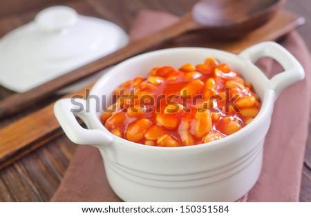 white beans with tomato sauce - stock photo
