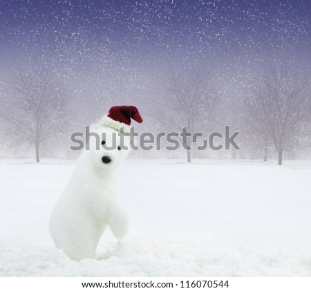 White bear with Santa Claus hat in snowy field - stock photo
