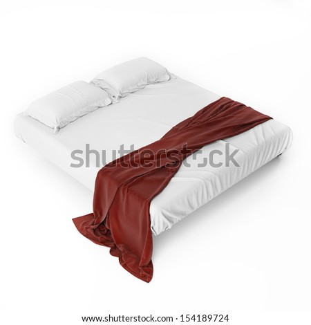 White Bed with Red Cover Isolated on White, Render - stock photo