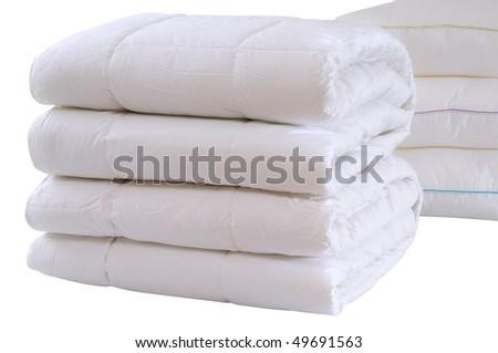 White bedding. Isolated - stock photo