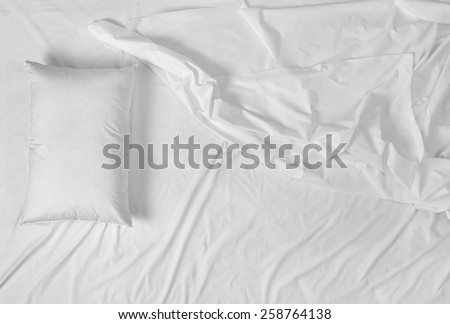 white bedding sheet - stock photo