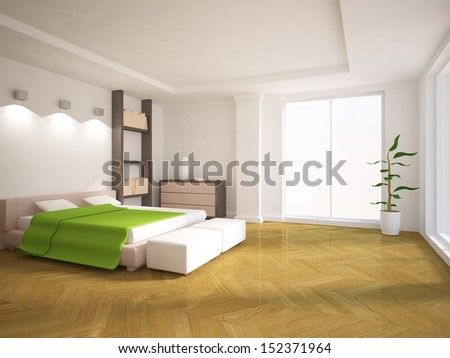 white bedroom  - stock photo