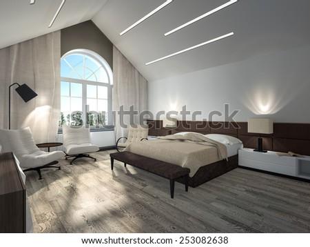 white bedroom 3d rendering - stock photo