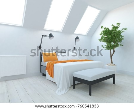 White bedroom interior. 3d illustration