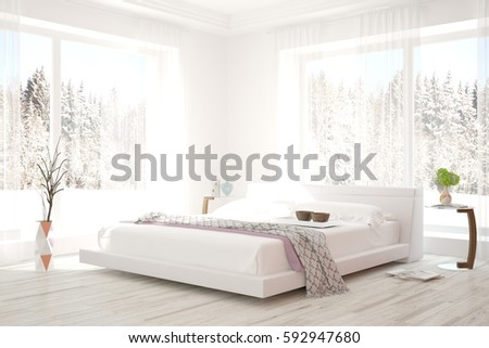 white bedroom with winter landscape in window scandinavian interior design 3d illustration