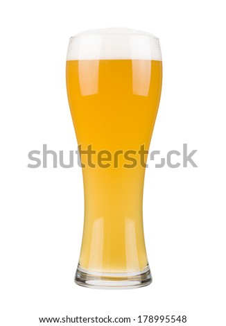White beer glass, isolated on white - stock photo