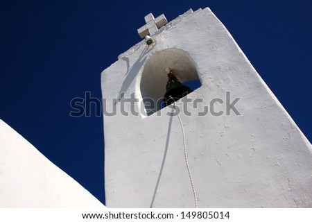 White Belfry with Cross - stock photo