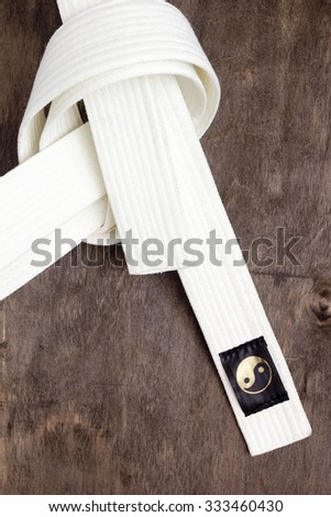 White belt karate - Belt first level training. - stock photo