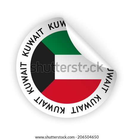 White bent sticker with flag of the kuwait raster version available as vector too