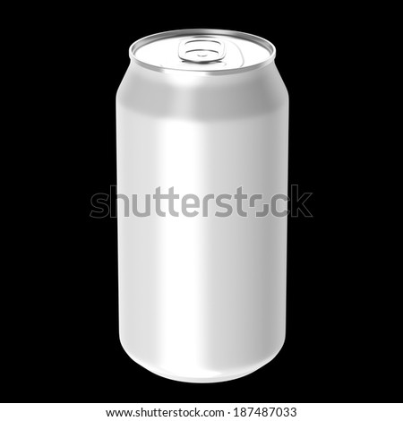 White beverage drink can, Isolated on black background, 3d Rendered.
