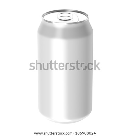 White beverage drink can, Isolated on white background, 3d Rendered.