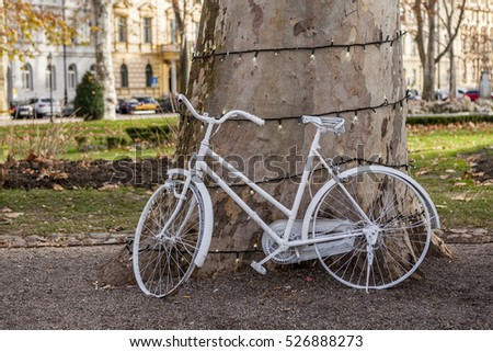 White bicycle at the park