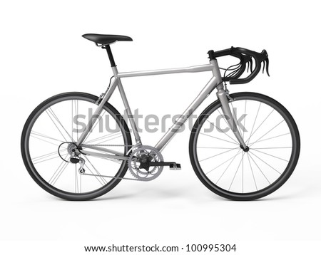 White bicycle isolated on white