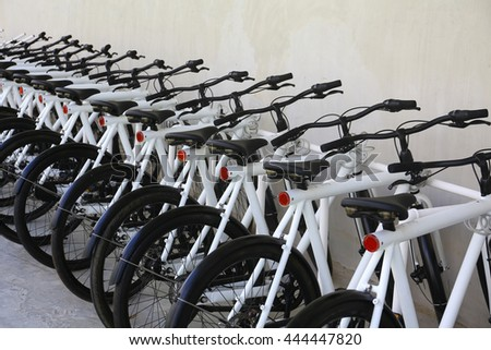 White bicycle parking